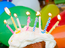 Birthday burning candles Royalty Free Stock Images