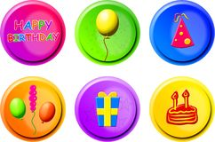 Birthday buttons Stock Images