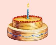 Birthday cake. Hand drawn illustration Royalty Free Stock Image