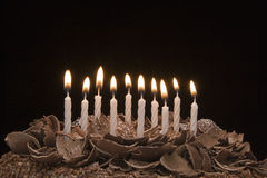 Birthday cake. Ten white candles on a delicious chocolate cake royalty free stock photography