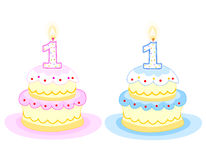 Birthday cake. Pink and blue birthday cakes with number one birthday candle. isolated on white background vector illustration