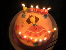 Birthday cake. With Happy Birthday candles Stock Photography