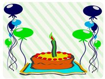 Colorful happy birthday greeting card with cake an Stock Image