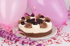 Birthday cake. With pink decoration Royalty Free Stock Photos