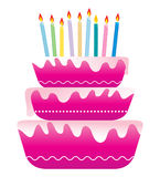 Birthday cake. Colorful birthday cake with candles Royalty Free Stock Photography