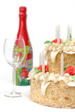 Birthday cake. Candles and presents Stock Image