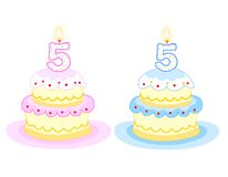 Birthday cake. Pink and blue birthday cakes with number Five birthday candle. isolated on white background Stock Photos