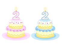 Birthday cake. Pink and blue birthday cakes with number two birthday candle. isolated on white background Royalty Free Stock Photography