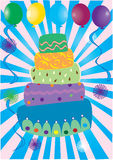 Birthday cake. Illustration of a birthday cake with balloons Royalty Free Stock Photo