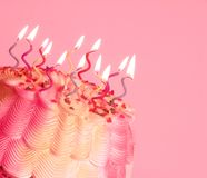 Birthday Cake. A  with swirly lighted candles on top stock images