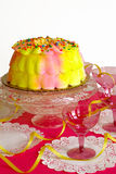 Birthday Cake. A pink and yellow iced , yellow ribbons and pink stemware for a birthday party stock image