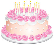 Birthday Cake. With the candles and the cream roses in Royalty Free Stock Photo
