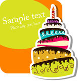 Birthday cake. Vector picture with birthday cake Royalty Free Stock Images