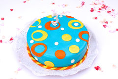 Birthday cake. Birthday marzipan cake  with colour circles Royalty Free Stock Images