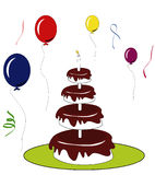 Birthday cake. With colourful  balloons Royalty Free Stock Photography
