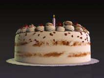Birthday cake. With a single lighting candle Royalty Free Stock Photos