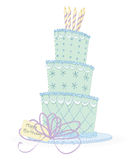 Birthday Cake. Whimsical line drawing of a tiered birthday cake Royalty Free Stock Images