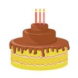 Birthday cake. With tree candles Stock Photos