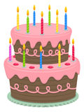Birthday Cake. An illustration of a cute birthday cake with pink frosting