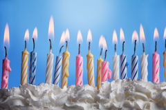 Birthday cake. Many candels in birthday cake Stock Photography