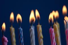 Birthday cake. Many candels in birthday cake royalty free stock photo