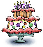 Birthday Cake. Cartoon of a colorful birthday cake with candles vector illustration