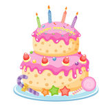 Birthday cake. With candles isolated on white vector illustration