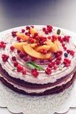 Birthday cake. Birthday layered cake with dark chocolate base and mascarpone cream royalty free stock photos
