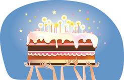 Birthday cake. Big birthday cake with candles stock illustration