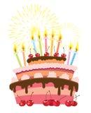 Birthday cake. Colorful birthday cake isolated over white background Stock Photo