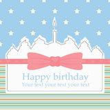 Birthday cake. Birthday postcard with wight cake in scrap booking style Stock Photo
