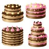 Birthday cake. Set with pink and chocolate cream Royalty Free Stock Image