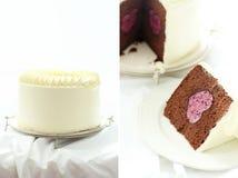 Birthday cake. Heart shaped birthday cake ,delicious teatime Royalty Free Stock Photography