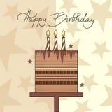 Birthday cake. Chocolate birthday cake and handwritten text Happy Birthday Stock Image