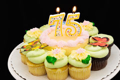 Birthday cake. With pastel colored butter cream icing surrounded by yellow and chocolate cupcakes. A 75 candle is burning Stock Images