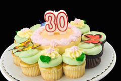 Birthday cake. Surrounded with chocolate and white cupcakes. Butterfly decorations on top of the pastel colored butter cream icing. Unlit number 30 candle Stock Images