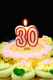 Birthday Cake. And Cupcakes decorated with pastel colored frosting. A 30 candle is burning Royalty Free Stock Photos