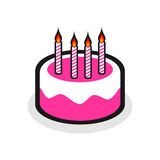 Birthday cake. Pink birthday cake with candles Stock Photo