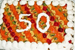 Birthday Cake A 50th With Fruit Texture Stock Photos