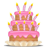 Birthday cake. Isolated image of pink birthday cake with burning candles. Shadow is transparent Royalty Free Stock Image
