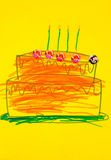 Birthday cake. A colorful kids hand painting of a birthday cake on a yellow card Stock Photo