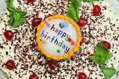 Birthday Cake. A child's birthday cake with cherries Royalty Free Stock Photos