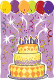 Birthday Cake. Birthday celebration with cake and balloons Royalty Free Stock Photography