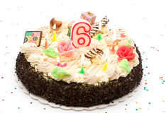 Birthday cake 6 years Royalty Free Stock Photo