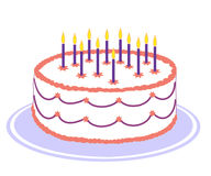 Birthday cake. White birthday cake with pink and purple icing and burning candles on purple plate Stock Photography