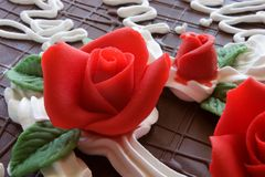 Birthday Cake. With red roses decoration stock images