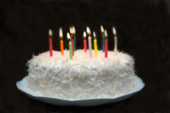 Birthday Cake. Coconut birthday cake Royalty Free Stock Images