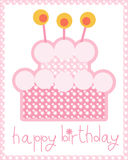 Birthday Cake. A Birthday card decorated with a pink cake Royalty Free Stock Photography