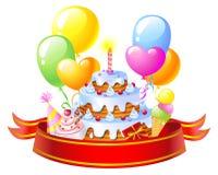 Birthday Cake. Birthday greeting card, vector image Stock Images