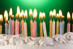 Birthday cake. Many candels in birthday cake Royalty Free Stock Photos